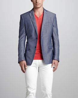 Versace Collection Linen-Blend Blazer, V-Neck Silk Sweater & Slim Cotton Pants
