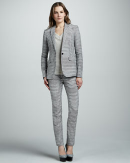 Burberry Prorsum Tailored Seersucker Suit & Cashmere Knit Pullover