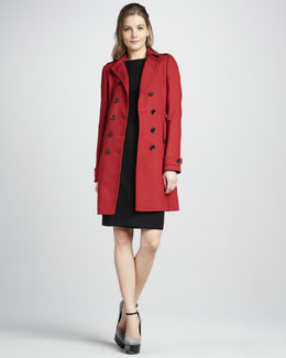 Burberry London Double-Breasted Stretch-Wool Coat & Button-Detail Short-Sleeve Dress