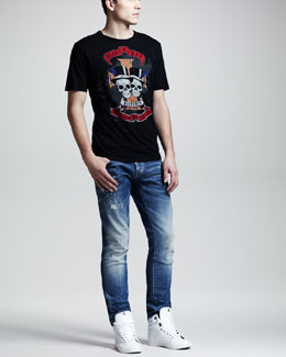 DSquared2 Skull Graphic Tee & Splash-Print Faded Slim Jeans