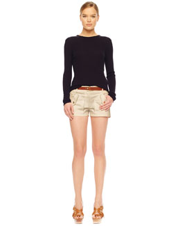 MICHAEL Michael Kors  Ribbed Crewneck Sweater & Stretch Twill Shorts
