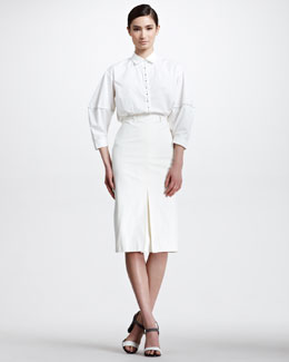 Bottega Veneta Embellished Poplin Blouse & Center-Pleat Cotton Knee Skirt