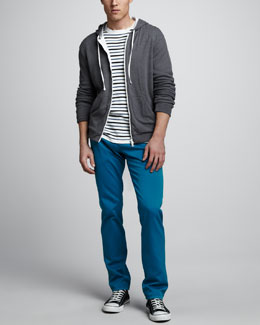 Vince Jersey-Lined Waffle Hoodie, Striped Crewneck Sweater & Garment-Dyed Chino Pants
