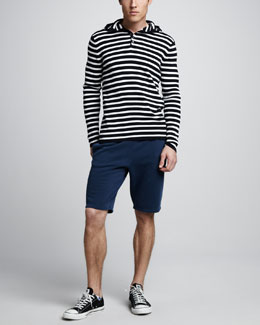 Vince Striped Henley Hoodie & Fleece Jogging Shorts