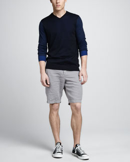 Vince Double-Layer Cotton Sweater & Drawstring Linen Shorts