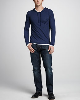 Vince Double-Layer Hoodie & One-Year Wash Jeans
