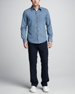 Vince Button-Down Denim Shirt & Linen Drawstring Pants