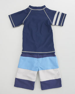 Appaman Rashguard Swim Tee & Striped Swim Trunks