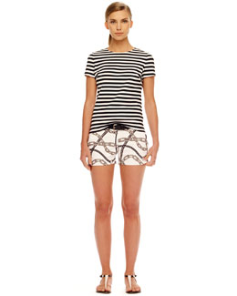 MICHAEL Michael Kors  Striped Back-Zip Shirt & Relaxed Twill Shorts