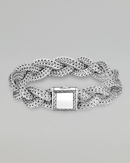 John Hardy Medium Braided Silver Chain Bracelet, Personalized