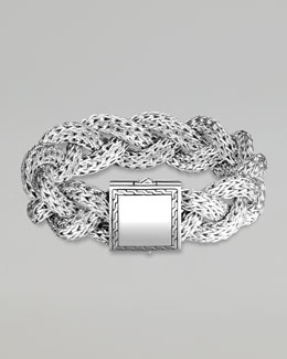 John Hardy Large Braided Silver Chain Bracelet, Personalized