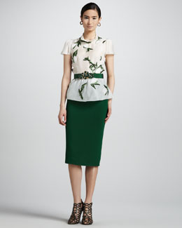 Oscar de la Renta Short-Sleeve Leaf-Embroidered Blouse & High-Waist Straight Skirt