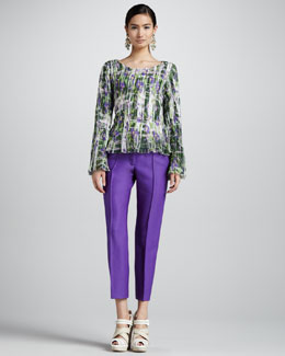 Oscar de la Renta Floral-Print Pleated Blouse & Skinny Cropped Pants