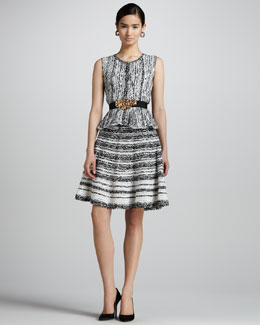 Oscar de la Renta Silk Knit Peplum Vest & Side-Zip Silk Knit Skirt