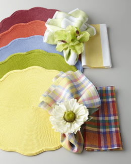 Deborah Rhodes Colorful Solid Placemat & Patterned Napkins