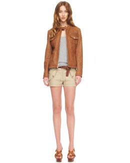 MICHAEL Michael Kors  Leather Motorcycle Jacket, Lightweight Ribbed Tank & Stretch Twill Shorts