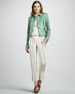 Rachel Zoe Celia Leather Jacket, Geri Sleeveless Silk Shirt & Mona Pintuck Pants