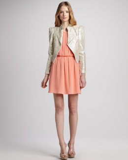 Alice + Olivia Eriko Lace Motorcycle Jacket & Mary Blouson Tank Dress