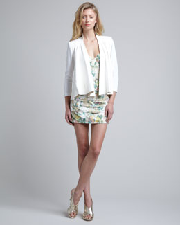 Alice + Olivia Vanna Loose Leather Jacket & Daphne Tiered-Skirt Dress