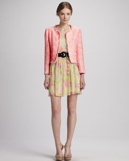Alice + Olivia Kidman Jacket, Patent Round-Buckle Belt & Louise Floral Dress