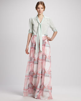Alice + Olivia Arie Tied-Collar Blouse & Extra-Long Wide-Leg Floral Pants