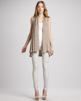 Alice + Olivia Sequined Cascade Vest & Five-Pocket Skinny Jeans