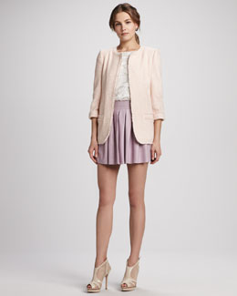 Alice + Olivia Tevi Long Boxy Jacket, Vera Crochet Top & Box-Pleat Leather Skirt