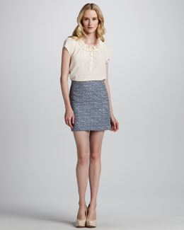 MARC by Marc Jacobs Bowery Ruffled Silk Blouse & Miranda Short Tweed Pencil Skirt