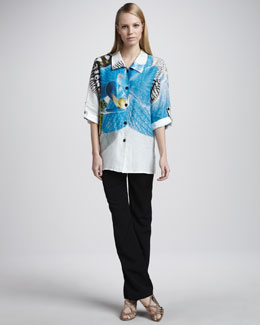 Caroline Rose Tropical Orchid Shirt & Shantung Pants, Petite
