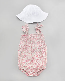 Busy Bees Ella Eyelet Smocked Bubble Bodysuit & Floral Sun Hat