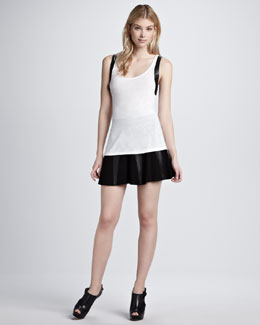 Aiko Leather-Trim Tank & Vapid Clarice Pleated Skirt