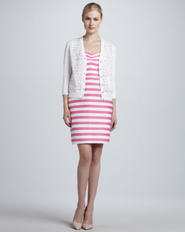 kate spade new york mercy floral-panel cardigan & betsy striped strapless dress