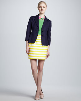kate spade new york alix cropped linen-blend blazer, tessa floral-collar silk top & barry striped pencil skirt