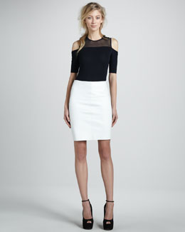 Bailey 44 Cold-Shoulder Hammerhead Shark Top & Leather Pencil Skirt