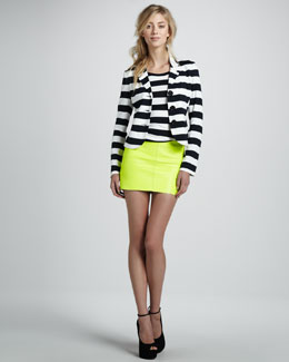 Bailey 44 Striped Short-Sleeve T-Shirt, Angelfish Striped Jacket & Leather Mini Skirt