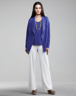 Eileen Fisher Open Interlock Cardigan, Silk-Jersey Tank & Washable-Crepe Wide-Leg Pants, Petite