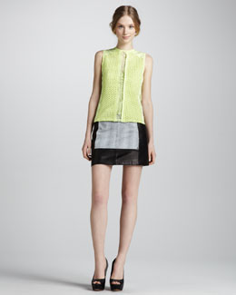 Nanette Lepore Mixed Media Eyelet Top & Houndstooth-Inset Leather Miniskirt