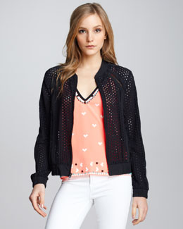 Nanette Lepore Club Queen Perforated Bomber Jacket & Sweet Connection Beaded Top