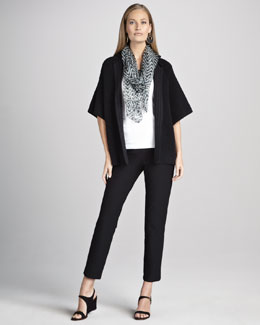 Eileen Fisher Silk Jacquard Jacket, Organic-Cotton Tank, Zigzag Shibori Scarf & Crepe Ankle Pants, Women's