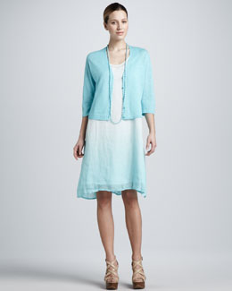 Eileen Fisher Ombre Layered Linen Dress, Bindu Silk Beaded Necklace & Cropped Linen Cardigan