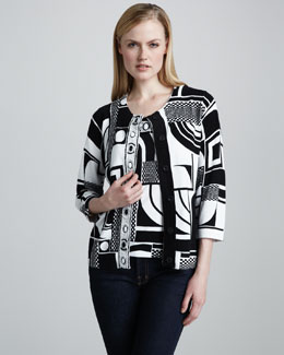 Berek Grid-Graphic Cardigan & Shell, Petite