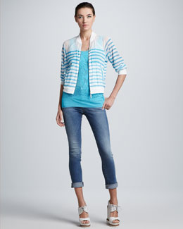 Jean Paul Gaultier Striped Bomber Cardigan & Lace Tank Top
