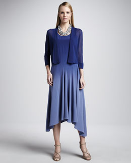 Eileen Fisher Gossamer Crepe Cardigan & Ombre Silk Long Dress, Women's