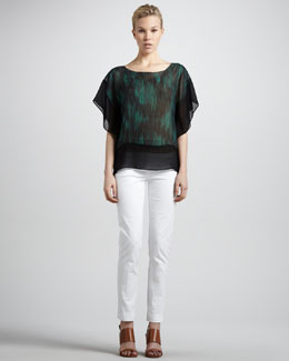 Michael Kors  Sheer-Trim Printed Tunic & Relaxed Stretch-Twill Pants