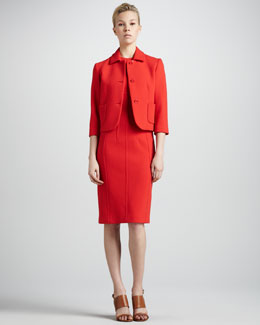 Michael Kors  Cropped Boucle Blazer & Sheath Dress