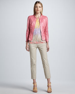 Lafayette 148 New York Ruched Leather Jacket, Rib-Stripe Printed Tank & Cropped Bleecker Pants