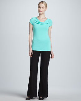 Three Dots Cap-Sleeve Cowl-Neck & Linen Wide-Leg Pants