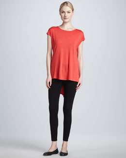 Three Dots Draped Back Tunic & Seamed Leggings