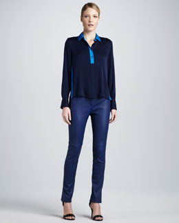 Elie Tahari Suzie Two-Tone Blouse and Melissa Leather Pant