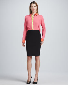 Elie Tahari Chelsea Colorblock Silk Blouse & Kim Pencil Skirt